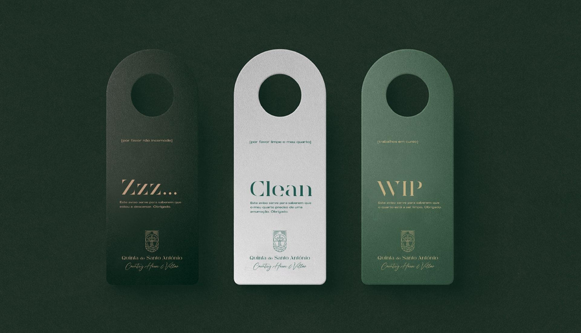 Mockup de cartões do Branding da Quinta de Santo António